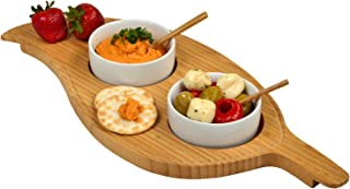 Picnic at Ascot Bamboo Leaf Shaped Serving Board with 2 Ceramic Bowls & Bamboo Spoons