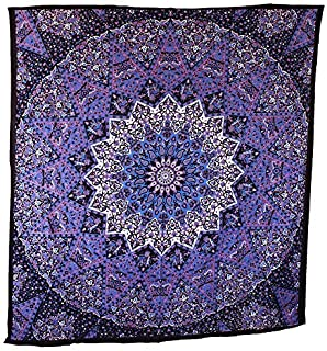 Blue Purple Mandala Tapestry Hippie Tapestry Wall hanging Psychedelic Star Elephant Mandala Tapestry Table Runner Bohemian Bedspread Bed Cover Bedding Bedsheet by Jaipur Handloom