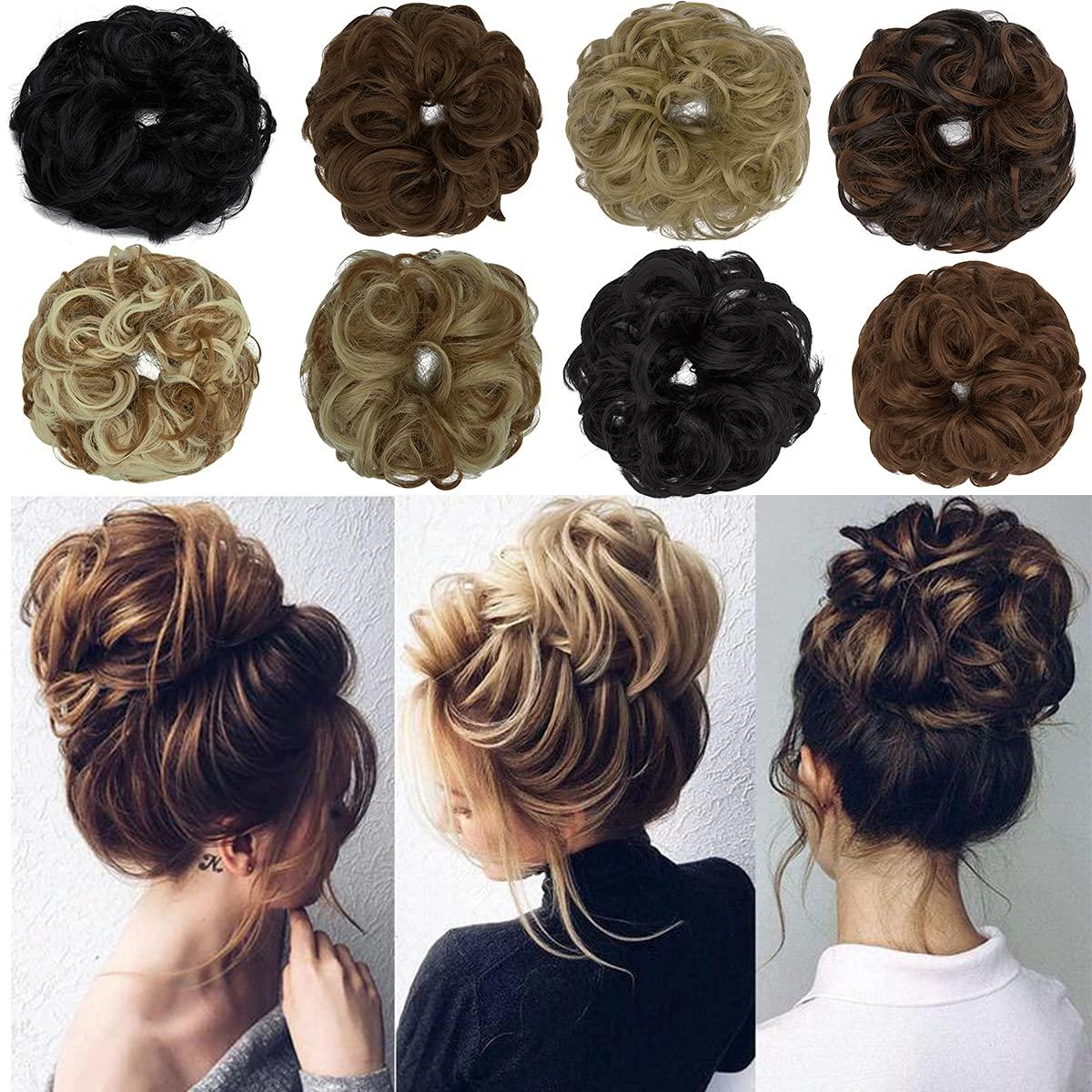 OKHOTY Regular dealer 1PCS Baltimore Mall Messy Hair Bun Extension Wavy Scrunchies Curly