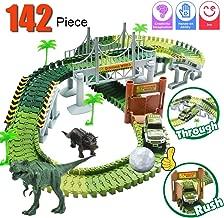 Dinosaur Train Set, Electric Cars Toy Set for Kids , 142 Piece Slot Car Race Dinosaur Tracks Set, Flexible Tracks Playset, 3 4 5 6 7 8 Year Old Boy Toys,Gift for Toddler, Kids