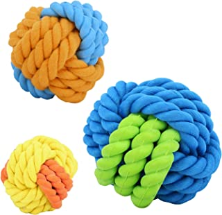 Vavopaw Fluff and Tuff Plush Ball Toy for Dogs, [3 PACK] Exercise Training Trackshot Nontoxic PU Puppy Ball Bouncy Toss Throw and Fetch Pet Roller Ball Dog Teething Playing Chewing Toy Ball - Colorful