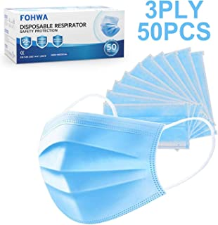 50PCS 3 PLY MASKS BY FOHWA - Mouth & Nose Cover, Dust-proof, Safe Breathing, Hygienic, Face Protection. BLUE