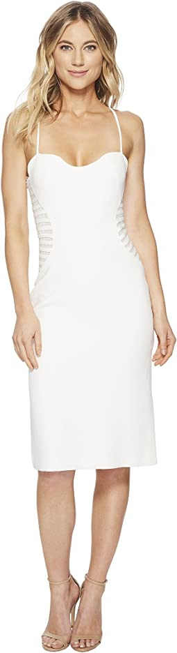 Halston Heritage Sleeveless Slip Dress w/ Strip Applique
