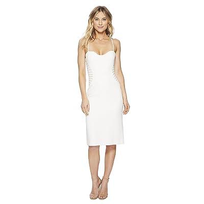 Halston Heritage Sleeveless Slip Dress w/ Strip Applique (Chalk) Women