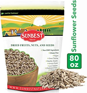 SUNBEST NATURAL Raw Sunflower Seed Kernels, Unsalted, Unroasted in Resealable Bag (5 Lb)