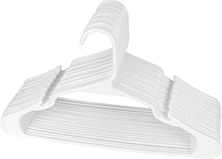 Utopia Home 20-Pack Plastic Hangers for Clothes - Space Saving Notched Hangers - White
