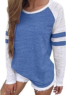 Womens Baseball Tee Long Sleeve Raglan Shirt Crew Neck Striped Tunics Casual Blouses Tops