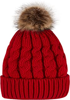 LINZHISH Women's Winter Soft Knitted Beanie Hat with Faux Fur Pom Pom