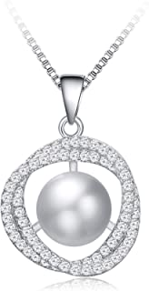 Women Pearl Necklace White-Pearl-Pendant-Necklace-S925...