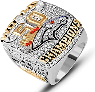 AJZYX Replica 50th Championship Ring 2015 Denver Broncos Collectible Jewelry Souvenir Rings for Fans Size 9-12