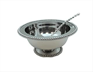 PUNCH BOWL AND BEADED LADLE (BEADED, PEWTER)