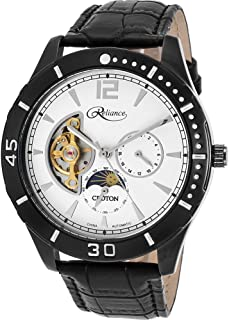 Mens Reliance Automatic Multifunction Leather Watch (Black/White)