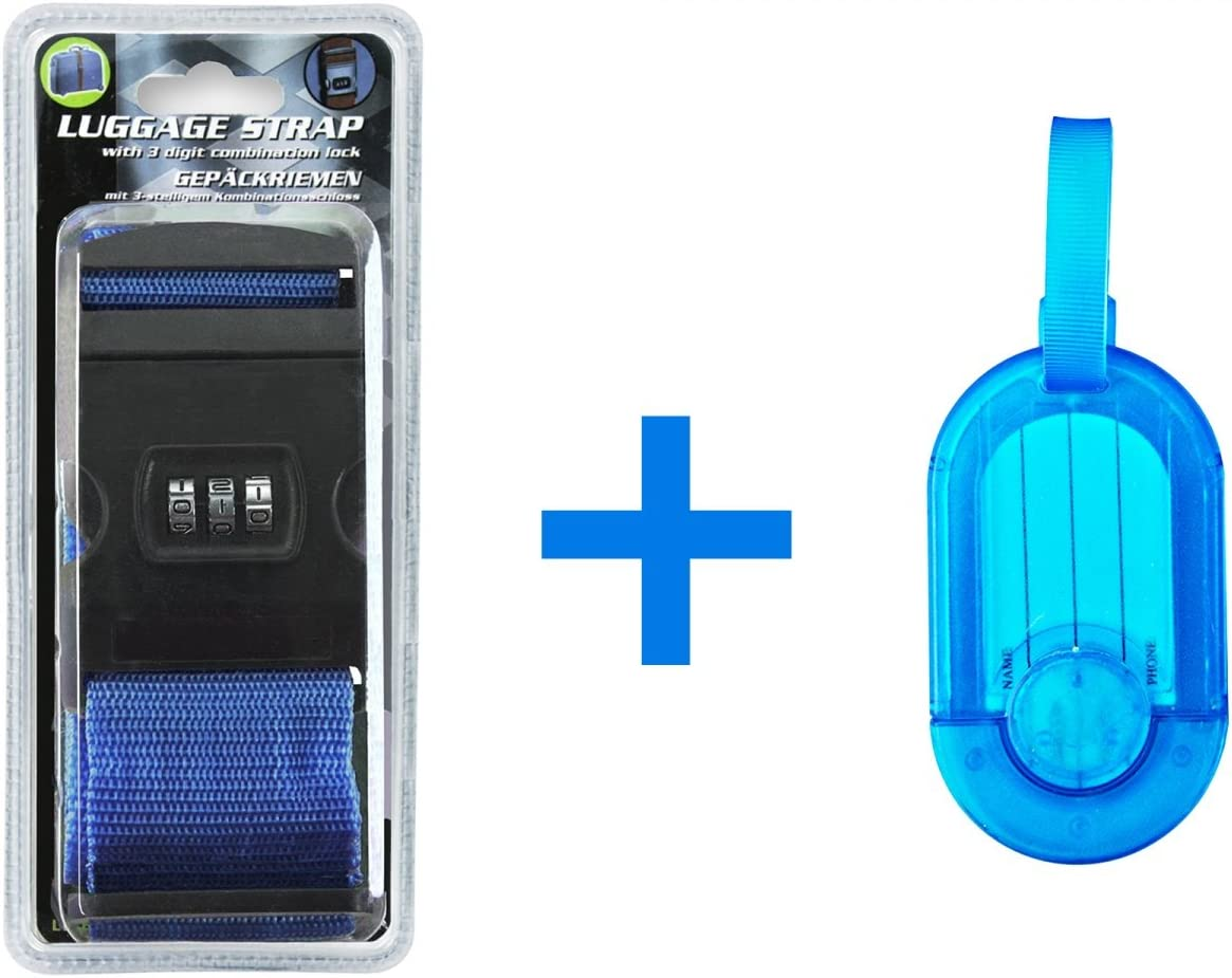 Kofferanhänger Set Blau Koffergurt mit Zahlenschloß