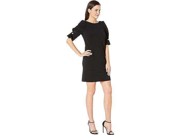 Tahari By Asl Short Puff Sleeve Stretch Crepe Dress - Women Clothing