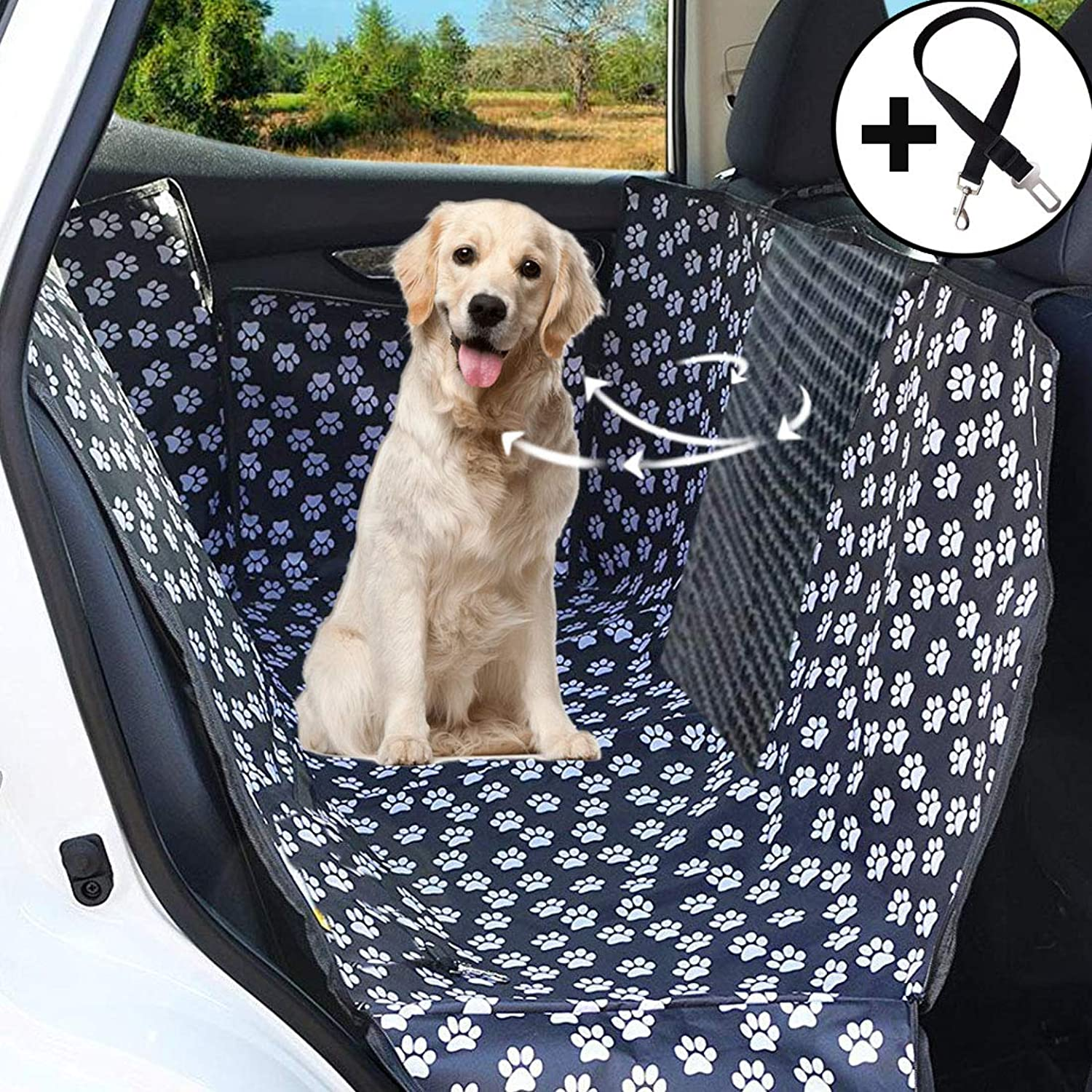 Big Hippo Dog Seat Cover,Waterproof Dog Car Seat Cover Predect Seat from Dirty Hair  Dog Hammock Pet Car Seat Cover with Air Circulation Mesh Window for Cars, Trucks, and SUV (Black)