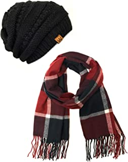 Wrapables Women's Plaid Print Long Scarf and Beanie Hat Set