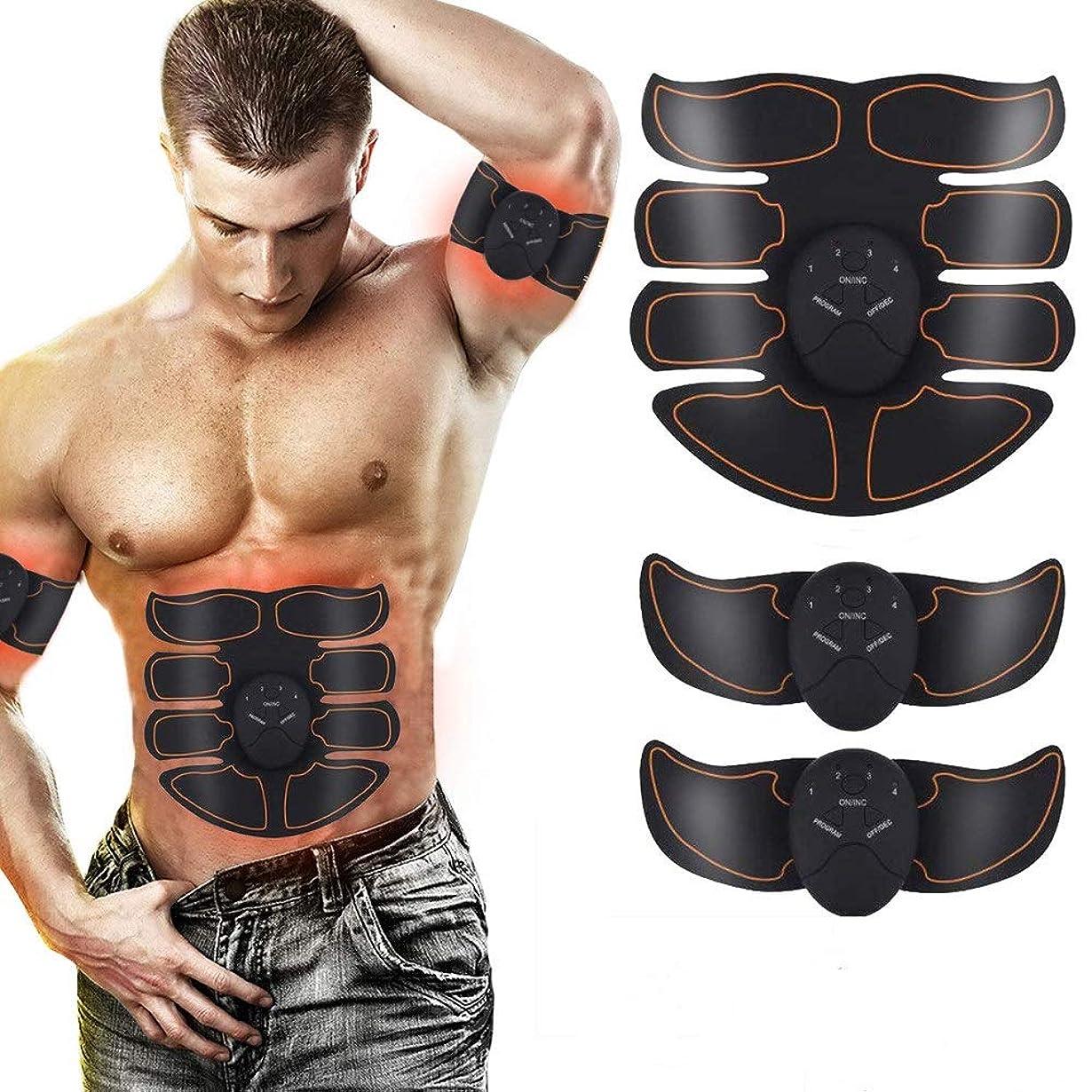 気づくデマンド傷つきやすいEMSマッスルフィットネストレーナー、8腹筋エクササイズトレーナー、腕/脚用のバッテリー式脂肪燃焼、男性および女性の減量装置用の6モードトレーニングファミリーポータブル