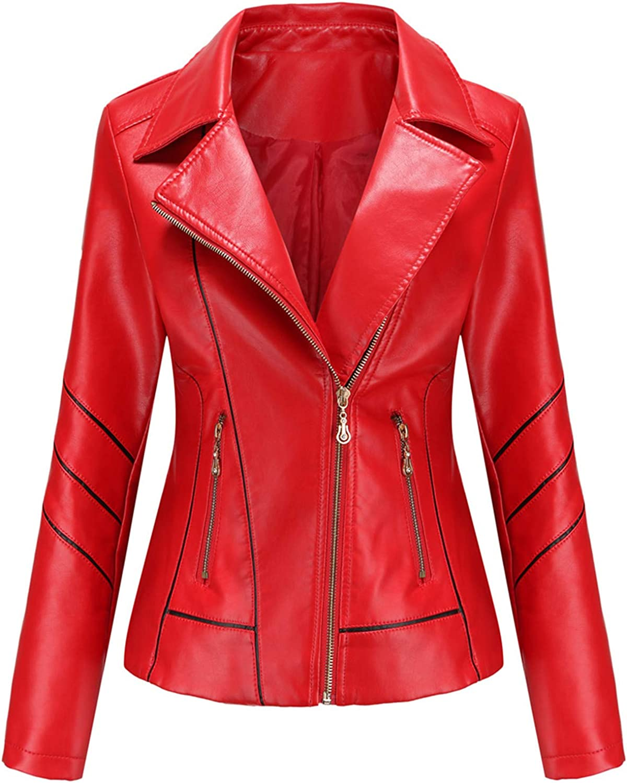 Women's Black Faux Leather Jacket Moto Biker Short Coat PU Jacket for Motorcycle Leather Coats for Women H7