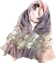 Alysee Women Soft Warm Silk&Wool Mixed Gradient Embroidered Scarf Headwrap Shawl