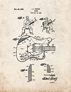 Clarence Fender Guitar Patent Print Old Look (5