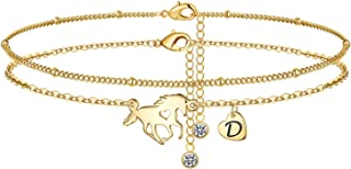 Horse Ankle Bracelets for Women, 14K Gold Filled Layered...