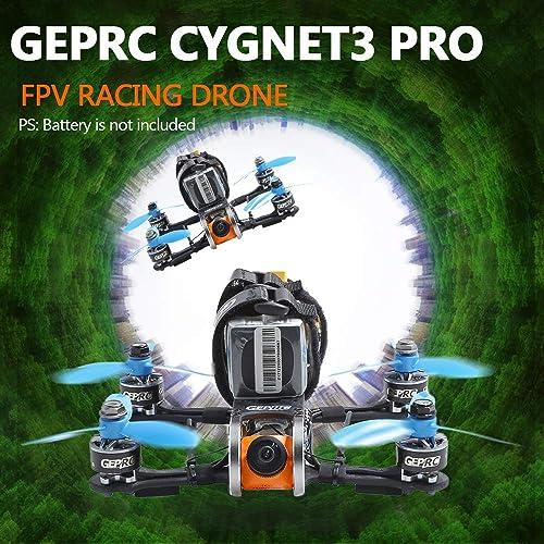 Leslaur Drone de Course FPV Cygnet3 Pro 145mm GEPRC avec caméra 1080P 48CH F4 1507 Moteur 20A ESC PNP
