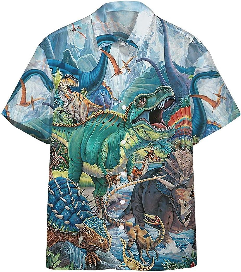 XStyles18 3D trend rank dinotopia In stock Hawaiian Sleeve Short Shirts Custom