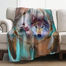Levens Wolf Throw Blanket Smooth Soft Print Blanket for Sofa Office Bed and Travelling 50