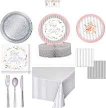 Olive Occasions Vintage Farmhouse Wedding Bridal Shower Paper Party Supplies 16 Dinner Plates, 16 Cake Plates, 16 Lunch Napkins, 16 Beverage Napkins, Tablecloth, Centerpiece, Banner, Silverware