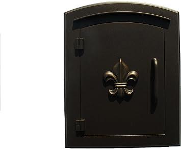 Amazon Com Qualarc Man 1402bz Manchester Column Mount Mailbox With Decorative Fleur De Lis Door In Bronze Home Improvement