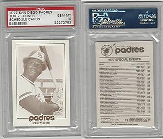 1977 San Diego Padres Schedule Baseball, Jerry Turner, PSA 10 Gem