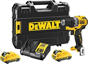 DeWalt 12V Brushless Drill Driver Compact Cordless 2 x 2AH batteries & Charger, Yellow/Black, DCD701D2-GB, 3 Year Warranty