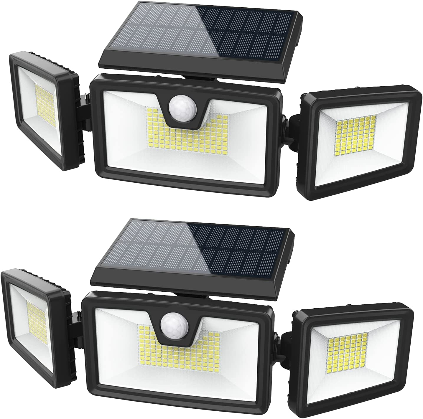 LKESBO Solar Motion Lights Outdoor Sensor 2 Pack 188 LED Solar Powered Flood Lights 2000LM Waterproof Solar Security Lights with 3 Adjustable Heads for Outside Yard Garden Patio Path