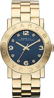 ساعة للنساء بمينا زرقاء وسوار ستانلس ستيل من مارك باي مارك جيكوبس - طراز Mbm3166، شاشة عرض انالوج، مع حركة الكوارتز