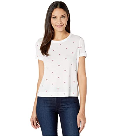 Splendid Heart Embroidered Tee (White/Clay) Women