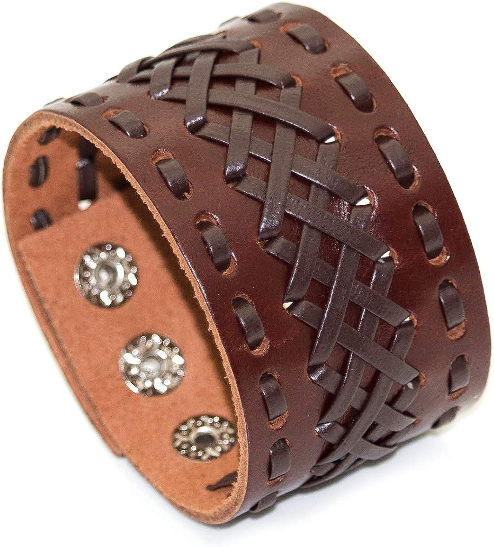 Mgutillart Punk Rock Wide Leather Wristband Metal Buckle Bracelet Braided Cuff Bracelet