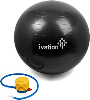 Ivation Exercise Ball for Fitness Yoga Pilates Gym Stability Ab Workouts Weight Loss Core Strengthening Balance Pilates Se...