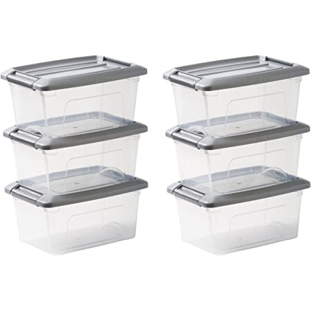 Amazon Basics Lot de 6 boîtes de rangement empilables - New Top Box NTB-5, Plastique, Transparent/Gris, 5 L