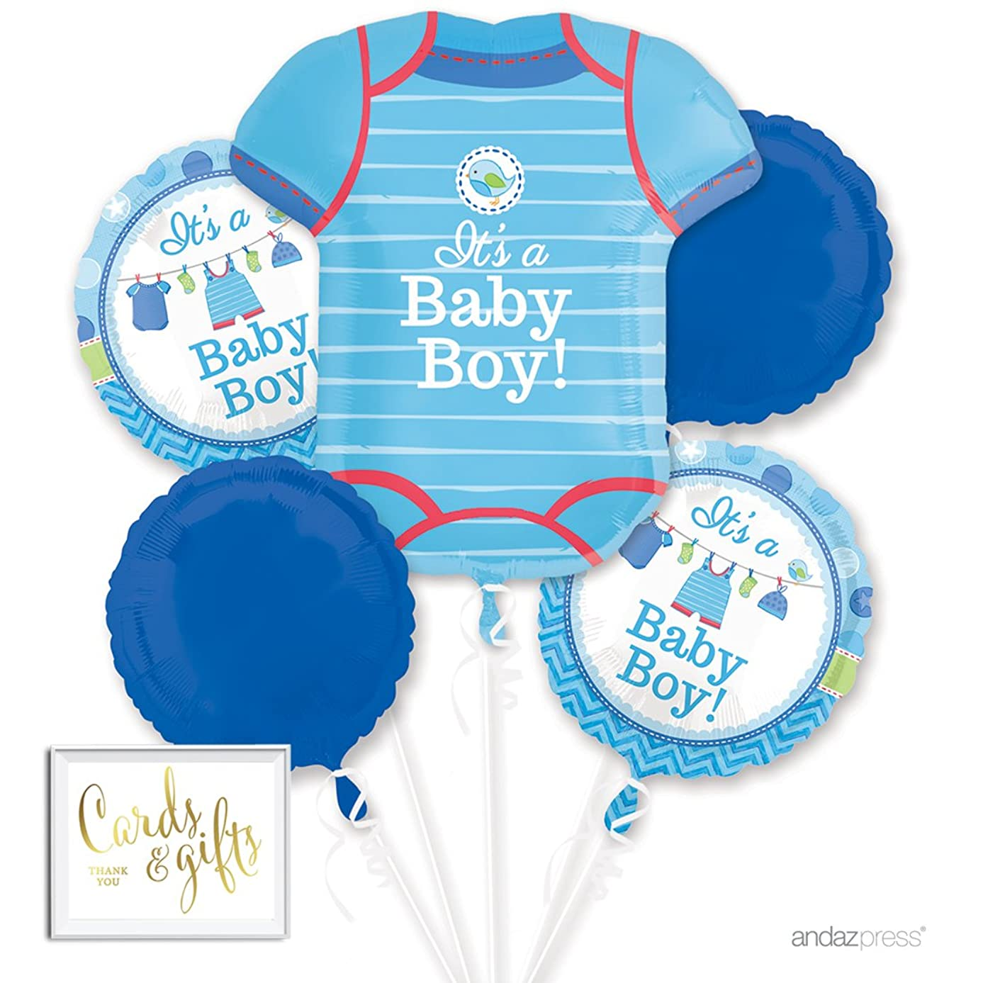 Andaz Press Balloon Bouquet Party Kit with Gold Cards & Gifts Sign, Boy Baby Shower Onesie Foil Mylar Balloon Decorations, 1-Set