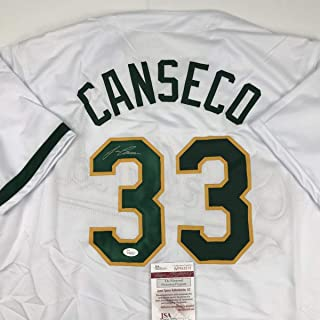 Autographed/Signed Jose Canseco Oakland White Baseball Jersey JSA COA
