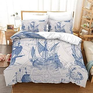 Erosebridal Nautical Decor Duvet Cover Set Sailboat Quilt Cover Set Queen Size Blue Vintage Style Bedspreads Microfiber Bedding Set for Kids, Teens, Adults