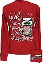 Girlie Girls Owl Be Home for Christmas Preppy Long Sleeve T-Shirt - Youth