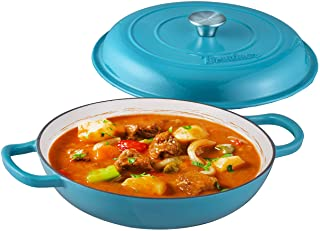 Bruntmor Enameled Cast Iron Cookware Shallow Casserole Braiser Pan, with Steel Knob Cover and Double Loop Handle. Round Ca...