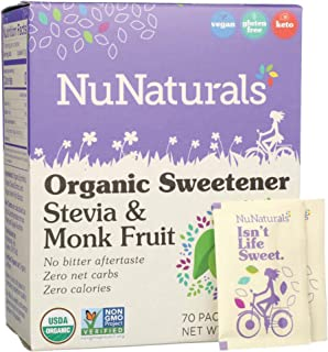 NuNaturals Organic Plant Based Sugar-Free, Stevia & Monk Fruit Sweetener Packets (70 Count)
