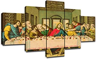 Wall Art Jesus Christ Last Supper by Da Vinci Pictures Canvas Prints Vintage Artwork for Living Room Decorations Famous Oil Paintings Replica Home Decor Wooden Framed(50''Wx26''H)