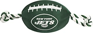 NFL NEW YORK JETS Football Dog Toy, Tough Nylon Quality Materials with Strong Pull Ropes & Inner Squeaker in NFL Team Colo...