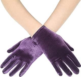 BABEYOND Short Opera Vlvet Gloves Wrist Banquet Gloves Tea Party Dancing Gloves Special Occasion Gloves for Women
