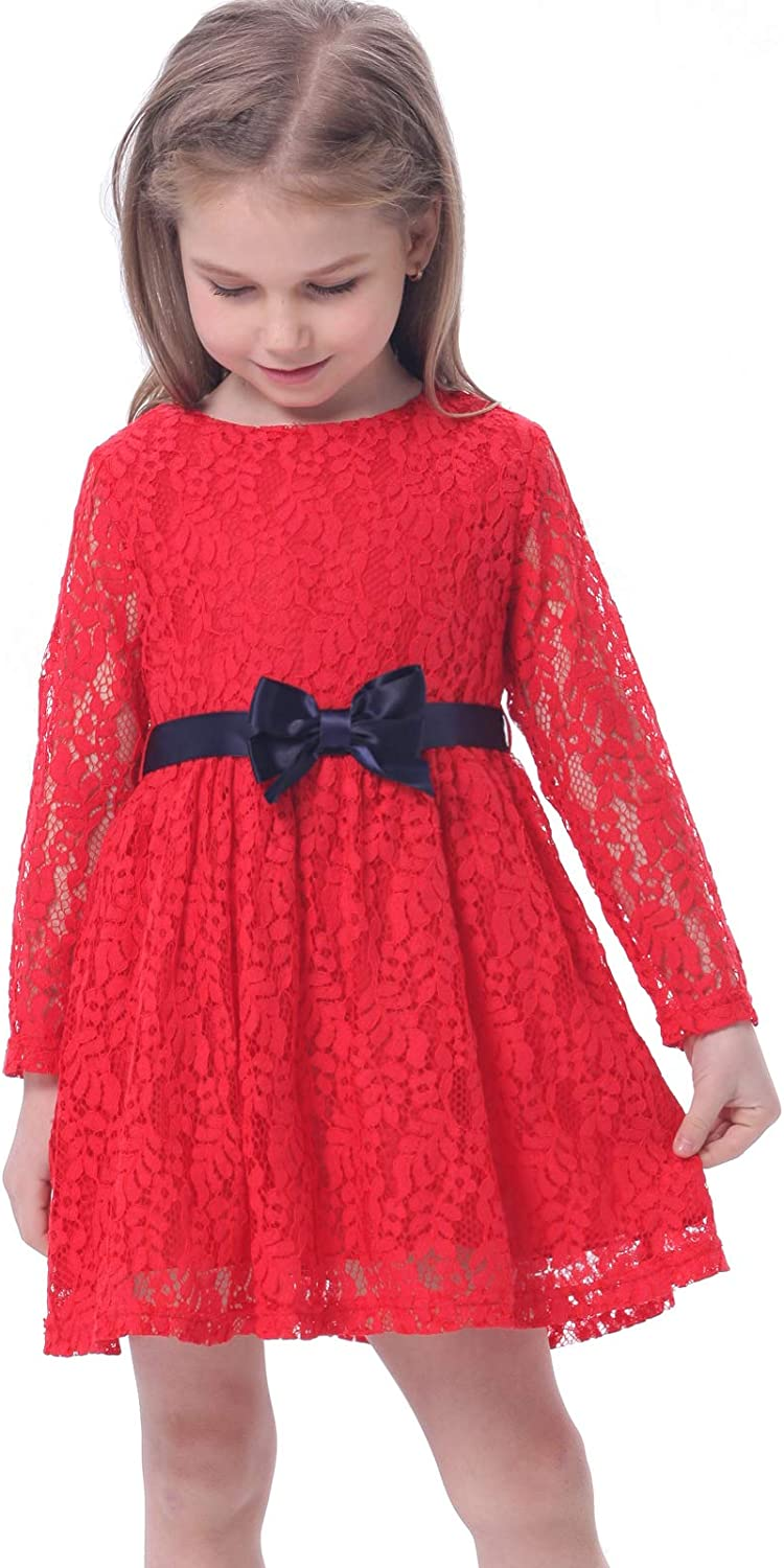 Bonny Billy Girls Long Sleeve Midi Lace Party Kids Dress with Bow Sash