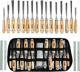 TIMESETL 12 Cinceles para Madera + 2 Lima + 4 Piezas de Piedra de Aceite, Cuchillo de Talla de Madera, Artesanal DIY Cincel de Mano de Talla de Madera Profesional para Carpintería
