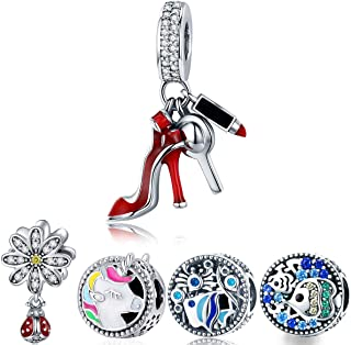 e397c56dc WOSTU Silver Charms 925 Sterling Silver Good Luck Bead Charms for Charm  Bracelets Women's Charms